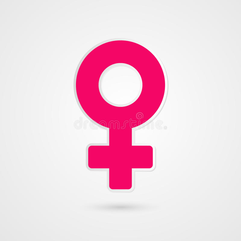 Символ женщины Женская иллюстрация знака Розовый значок вектора изолированный на серой предпосылке градиента иллюстрация штока