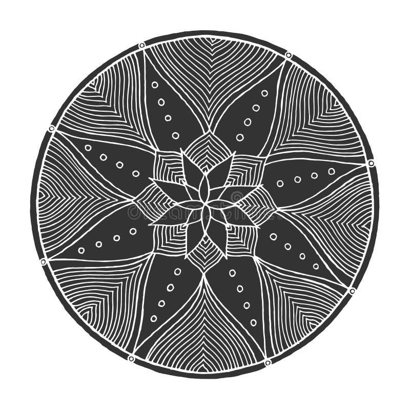 Символ значка мандалы Chakra, цветет флористическое, нарисованная рука вектора иллюстрация штока