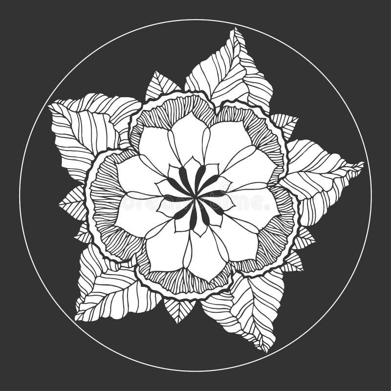 Символ значка мандалы Chakra, цветет флористическое, нарисованная рука вектора иллюстрация вектора