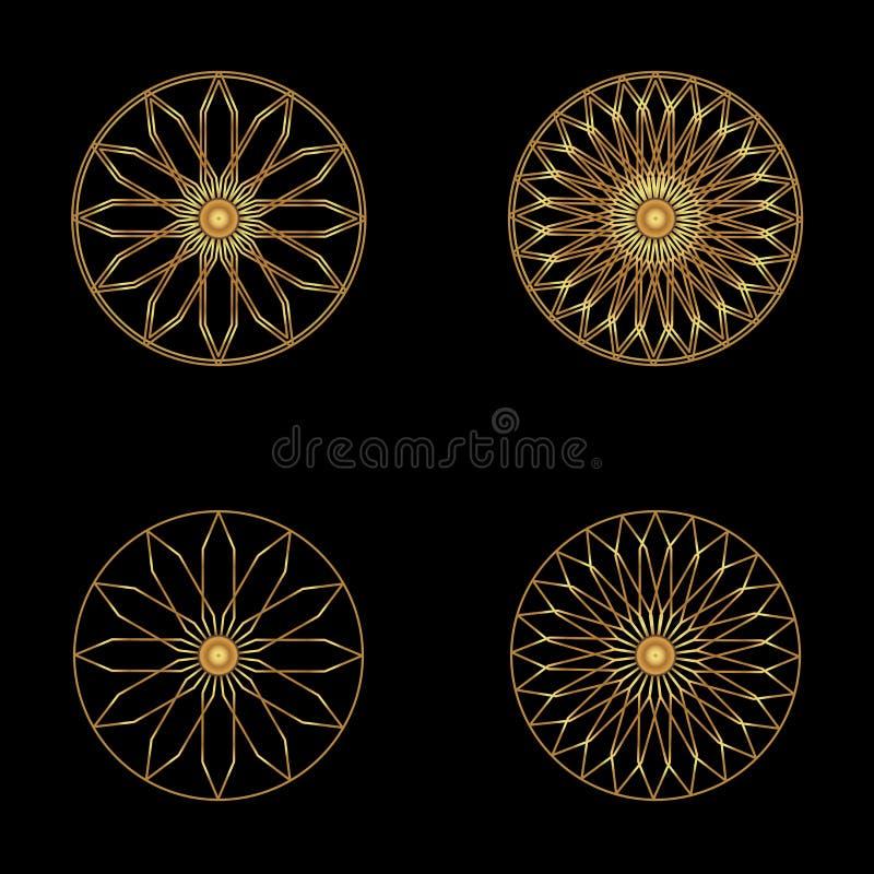 Символ значка логотипа абстрактный также вектор иллюстрации притяжки corel Символ цветка золота на черной предпосылке Самомоднейш бесплатная иллюстрация