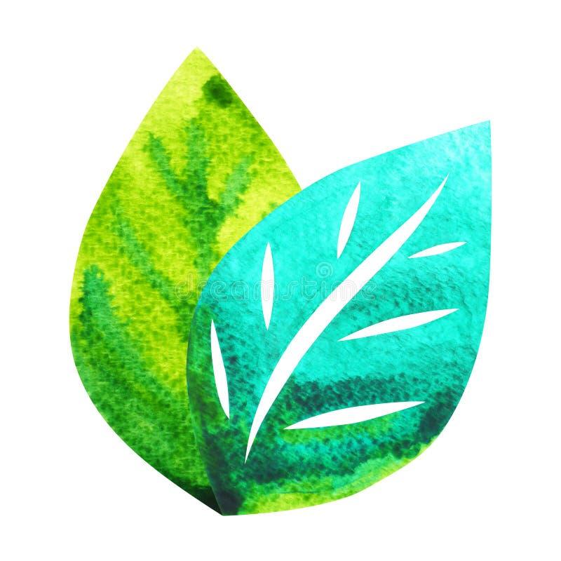 Символ лист, иллюстрация картины акварели нарисованная рукой бесплатная иллюстрация