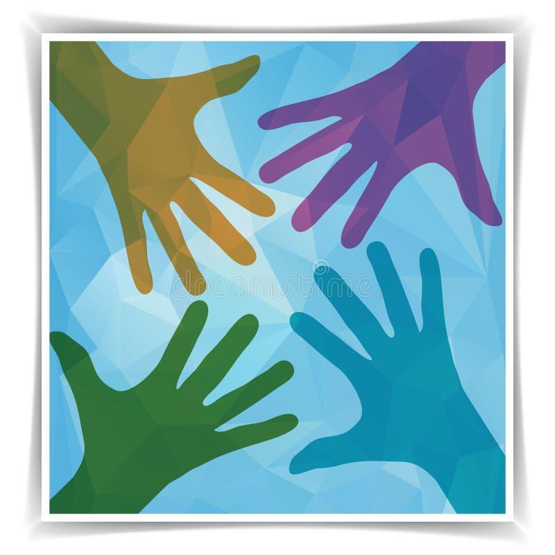 Символ команды Счастливые цветастые руки иллюстрация вектора