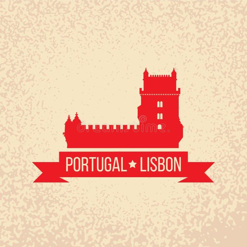Символ Лиссабона - башня Belem - vector иллюстрация иллюстрация вектора