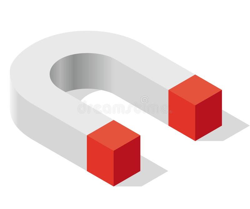 Символ магнита в равновеликой перспективе Магнитная сила, привлекательность, замагничивание и отталкивание иллюстрация штока