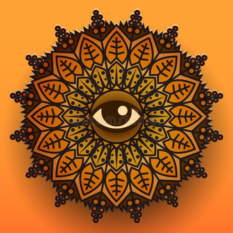 Символ мандалы на оранжевой предпосылке также вектор иллюстрации притяжки corel иллюстрация штока