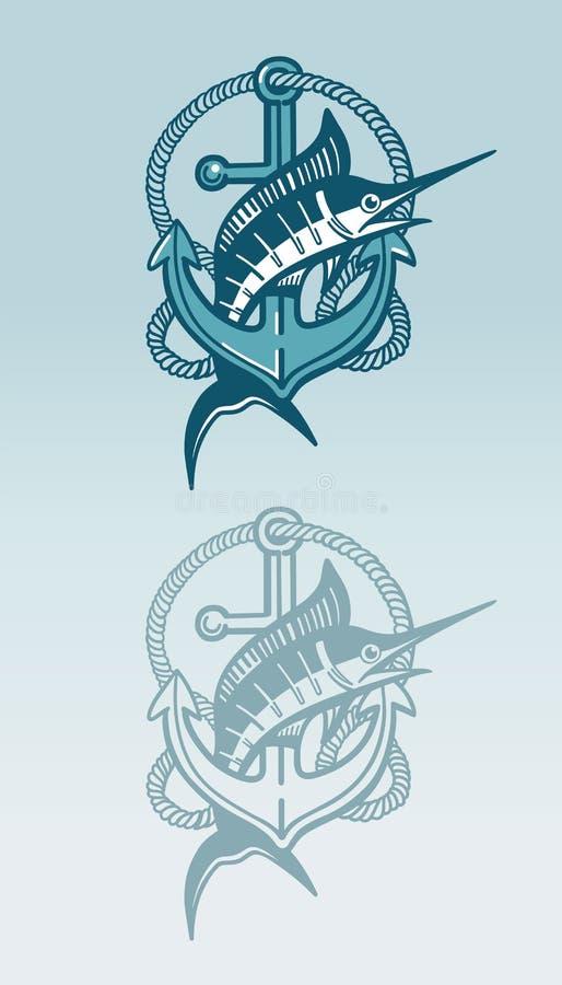 Символ меч-рыб и анкера стоковое фото rf