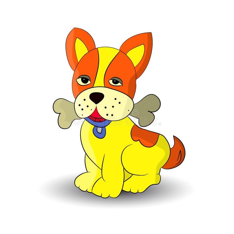 Символ Нового Года 2018, желтые собаки держа косточку в зубах, шарж на белой предпосылке иллюстрация штока