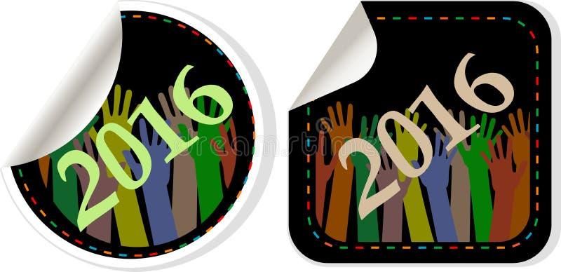 символ 2016 Новых Годов, значки или комплект кнопки изолированный на белой предпосылке, представляют Новый Год 2016 иллюстрация вектора
