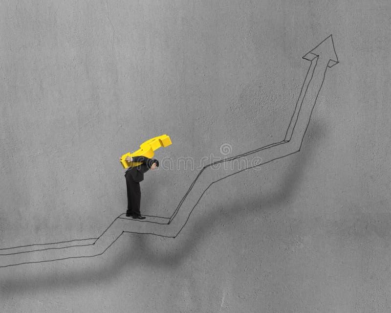 Символ нося денег стоя на растущей стрелке иллюстрация вектора
