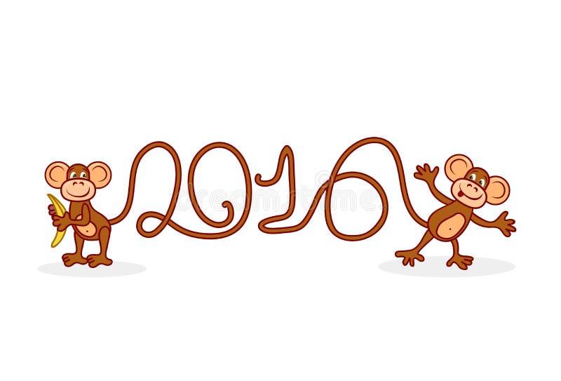 Символ обезьяны чертежа 2016 диаграмм от кабелей на белизне бесплатная иллюстрация