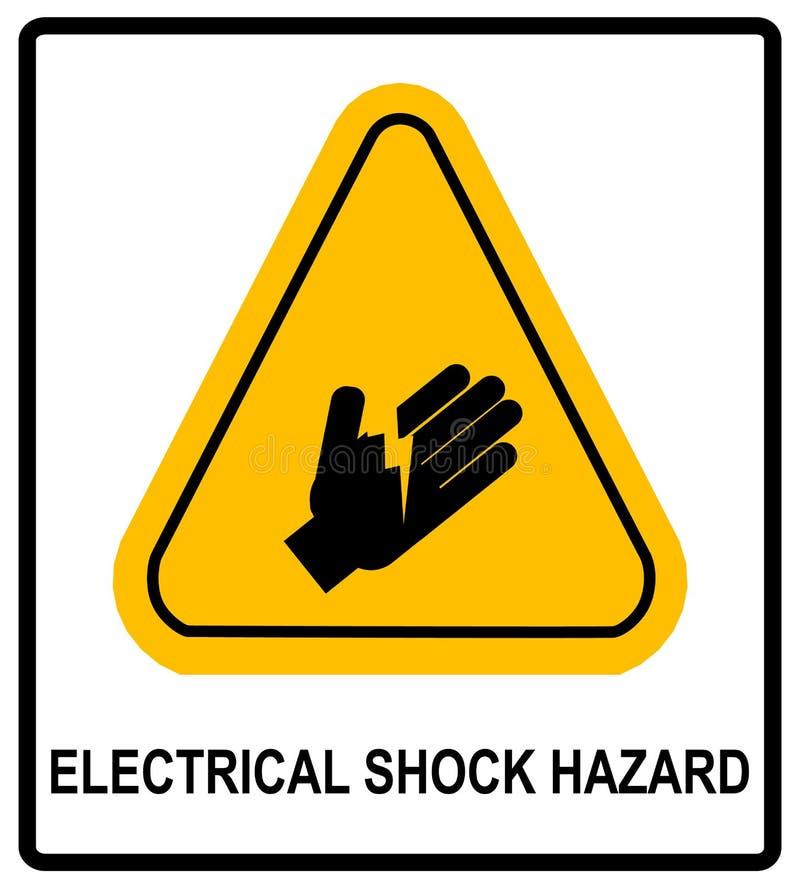 Символ опасности электрошока, иллюстрация вектора с предупредительным знаком в желтом треугольнике изолированном на белизне бесплатная иллюстрация