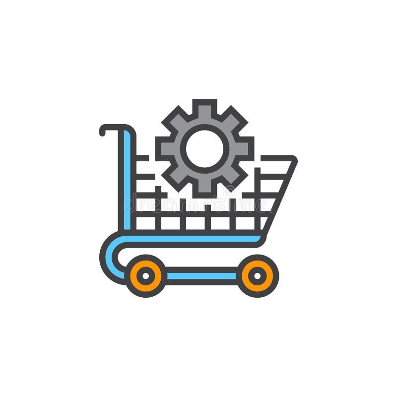 Символ оптимизирования Ecommerce Линия значок магазинной тележкаи и шестерни, бесплатная иллюстрация
