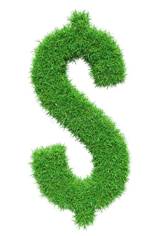 Символ доллара зеленой травы иллюстрация вектора