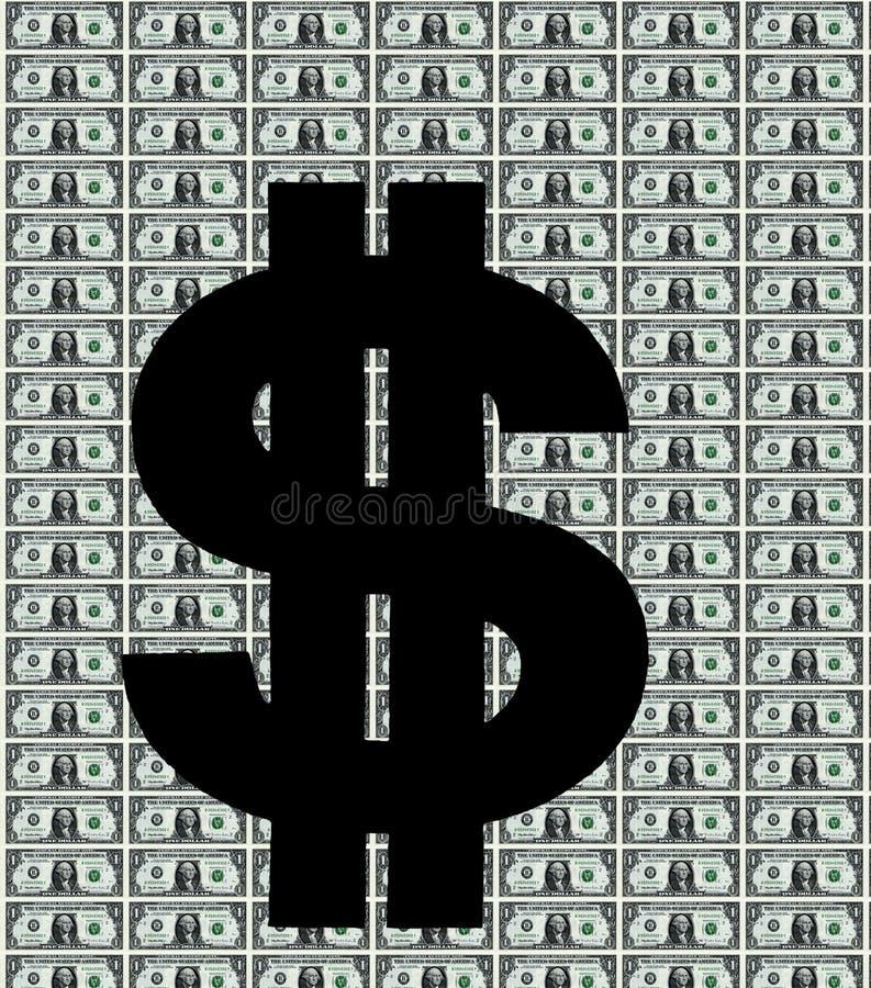 Символ доллара на примечаниях manybank одного доллара иллюстрация вектора