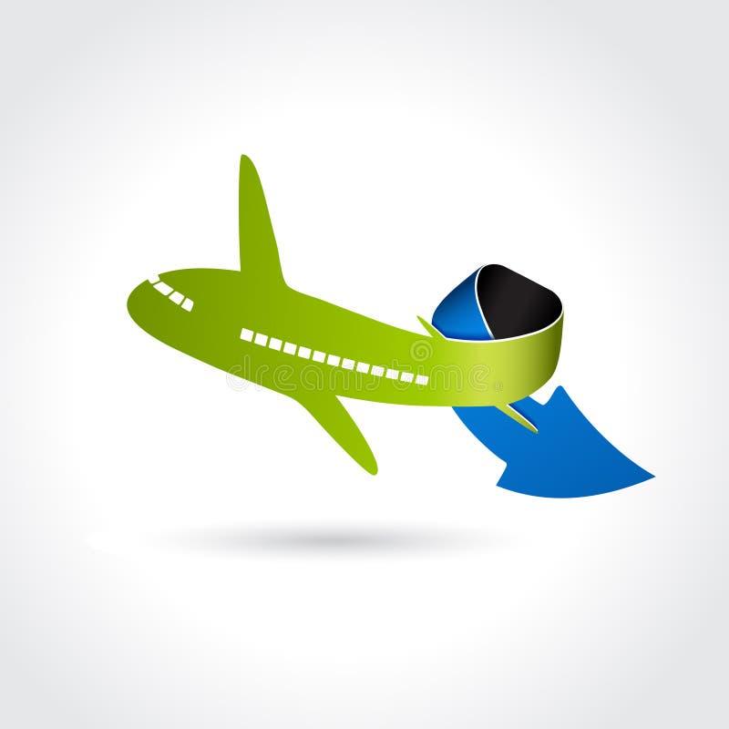 Символ поставки дела, значок перехода, самолет с стрелкой иллюстрация штока