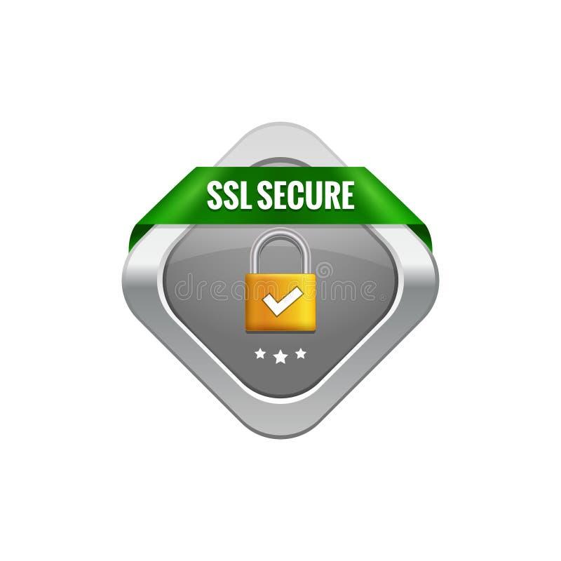 Символ предохранения от SSL безопасный Кнопка сделки безопасностью SSL с лентой Зафиксируйте значок дизайна предохранителя иллюстрация штока