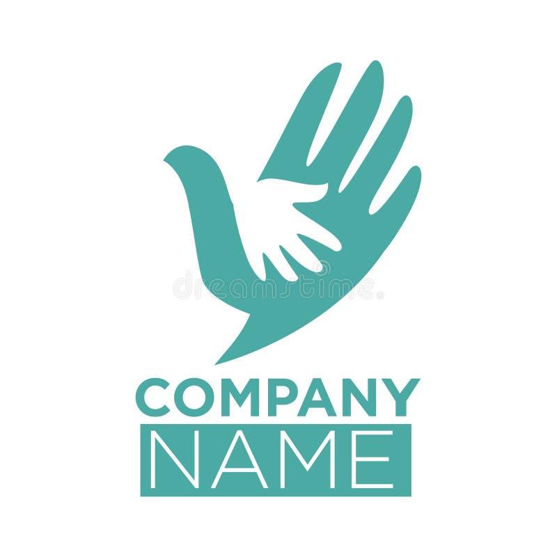 Символ птицы голубя руки в руках vector шаблон значка бесплатная иллюстрация