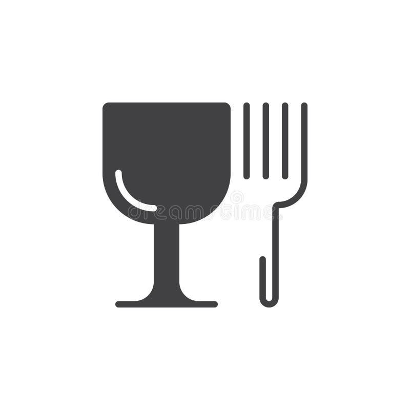 Символ ресторана Значок рюмки и вилки vector, заполненный плоско иллюстрация штока