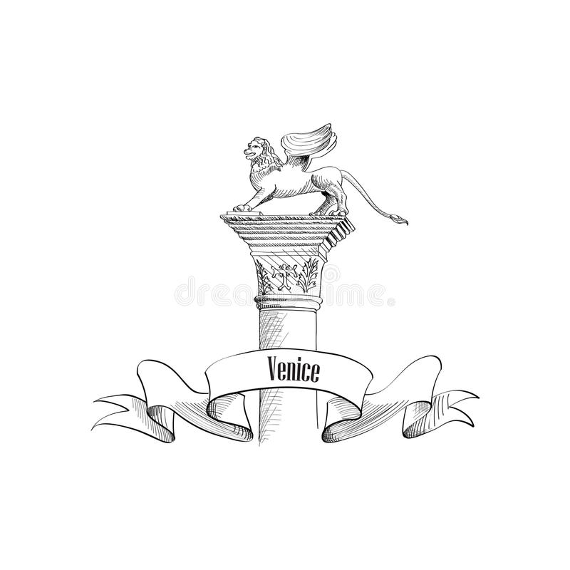 Символ Сан Marco Венеции citiy Подогнали ярлык льва иллюстрация вектора