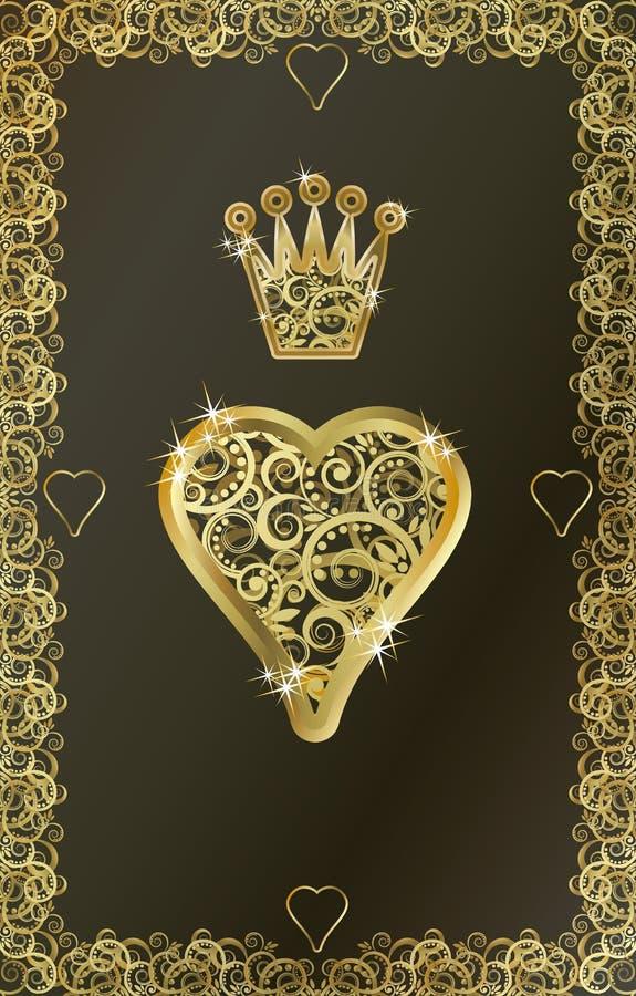 Символ сердца играя карточки покера иллюстрация штока