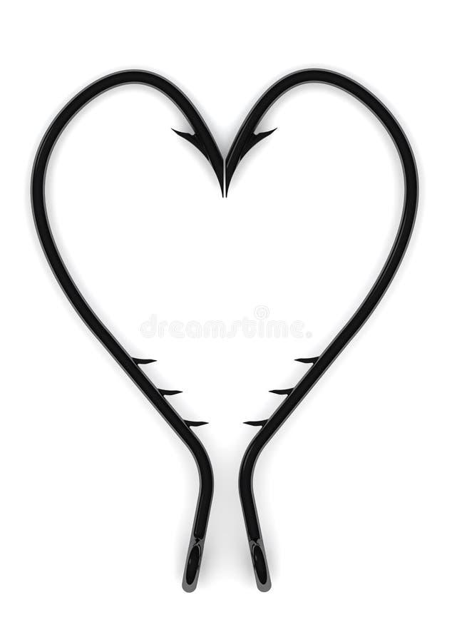 Символ сердца от рыболовных крючков иллюстрация штока