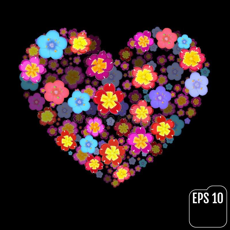 Символ сердца сделанный flovers на черной предпосылке с влиянием 3d иллюстрация штока