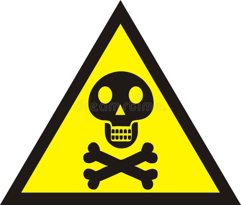 символ черепа знака опасности Смертельный знак опасности, предупредительный знак, иллюстрация вектора