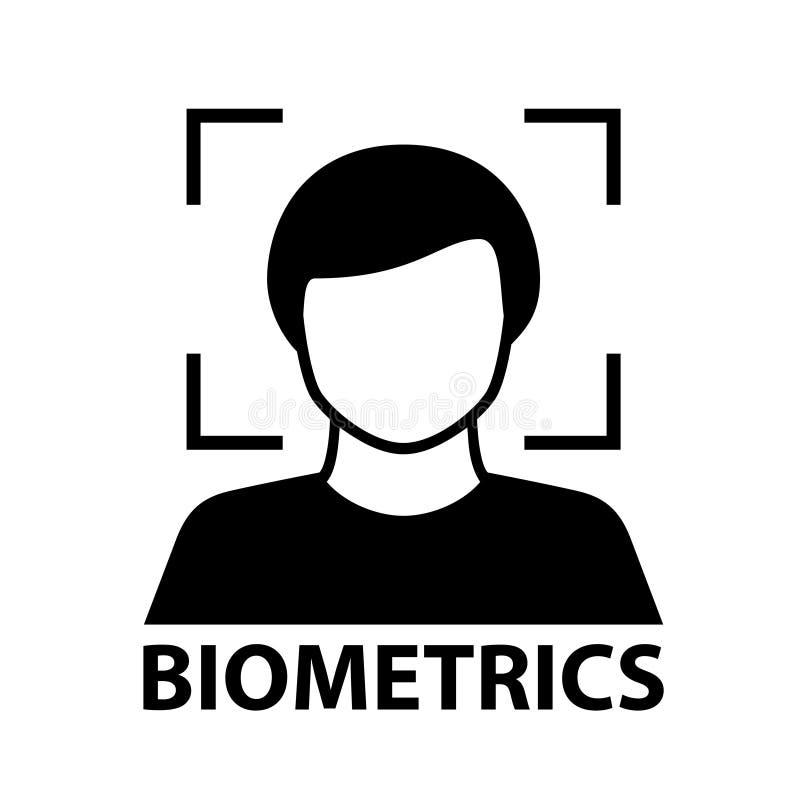 Символ черноты распознавания лиц биометрии иллюстрация вектора