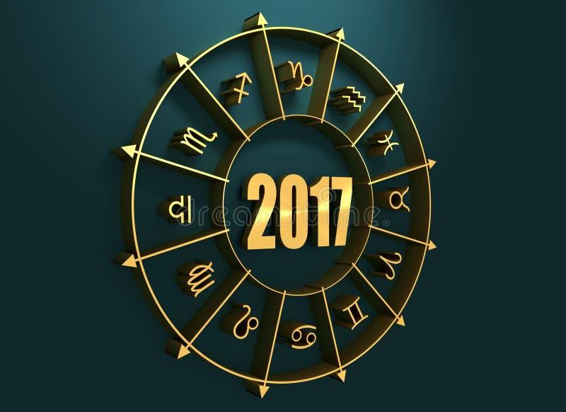 Символы астрологии в золотом круге стоковое изображение