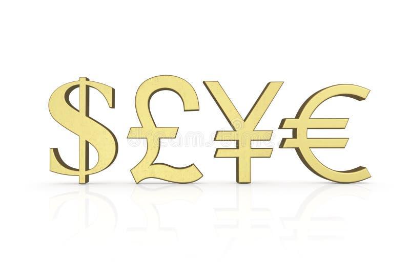символы валюты золотистые иллюстрация вектора