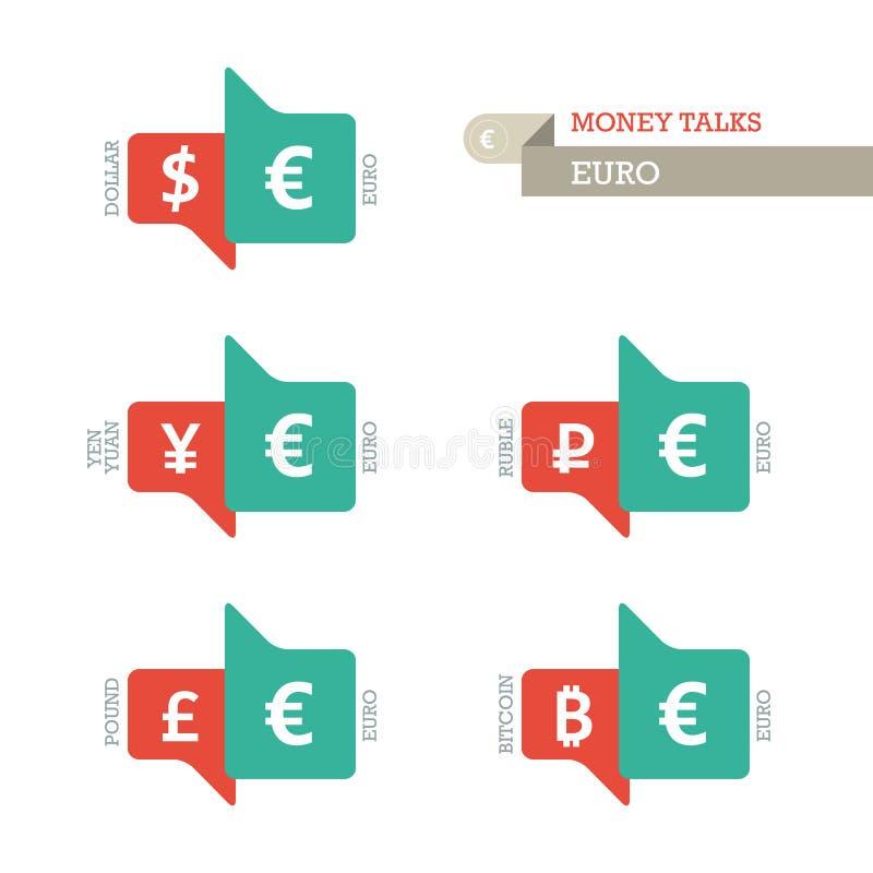 Символы валюты фунта рубля Bitcoin юаней иен доллара евро основного направления дальше вверх и вниз знака иллюстрация штока