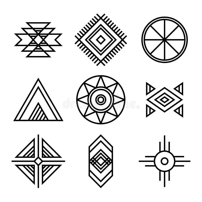 Символы индейцев коренного американца племенные иллюстрация штока