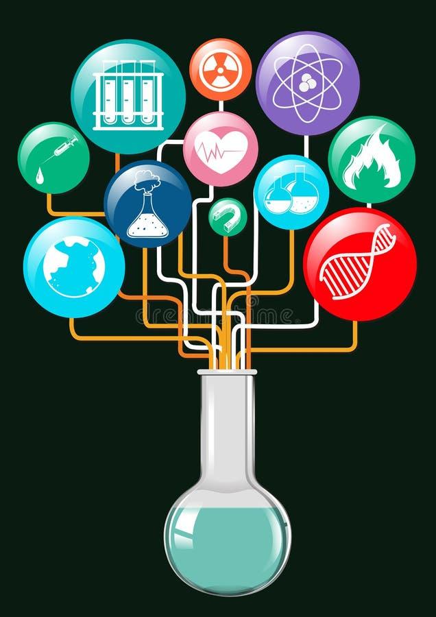 Символы и стеклянная тара науки иллюстрация штока