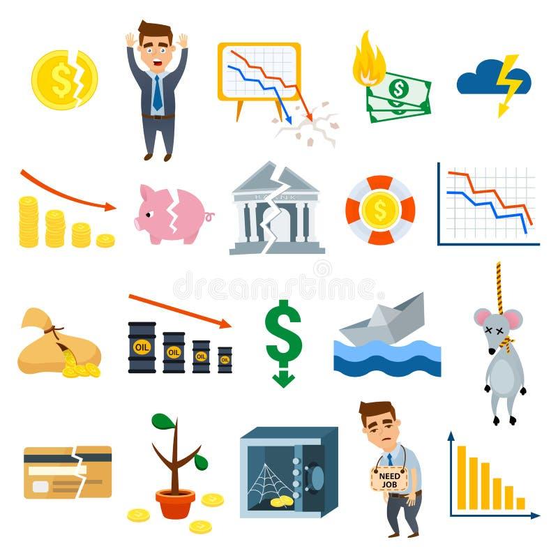 Символы иллюстрации вектора финансов знака дела символов кризиса плоские бесплатная иллюстрация