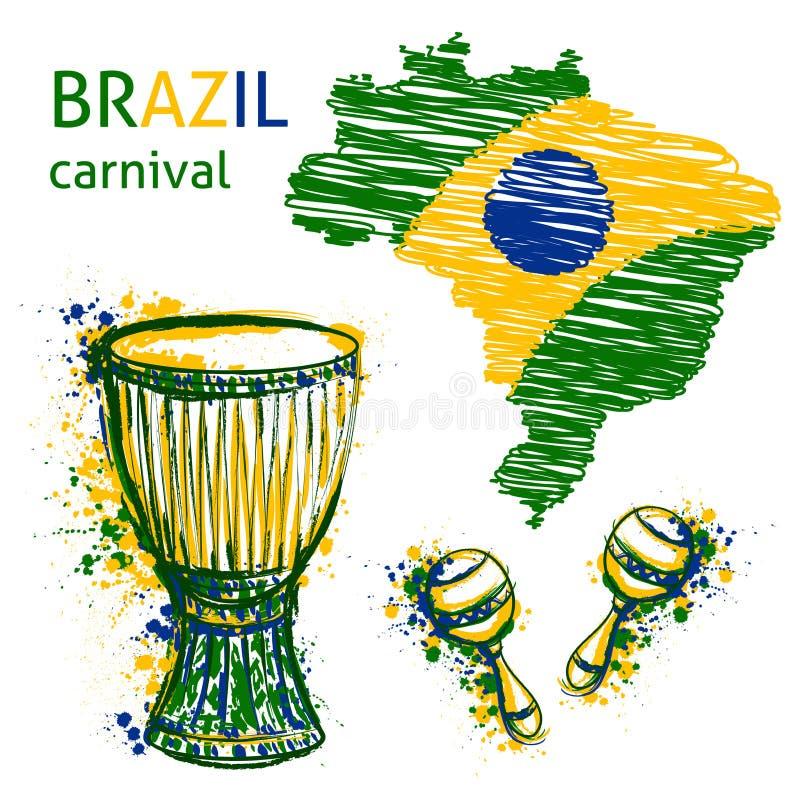 Символы масленицы Бразилии Барабанит tam tam, maracas и картой Бразилии с цветами флага Бразилии иллюстрация штока