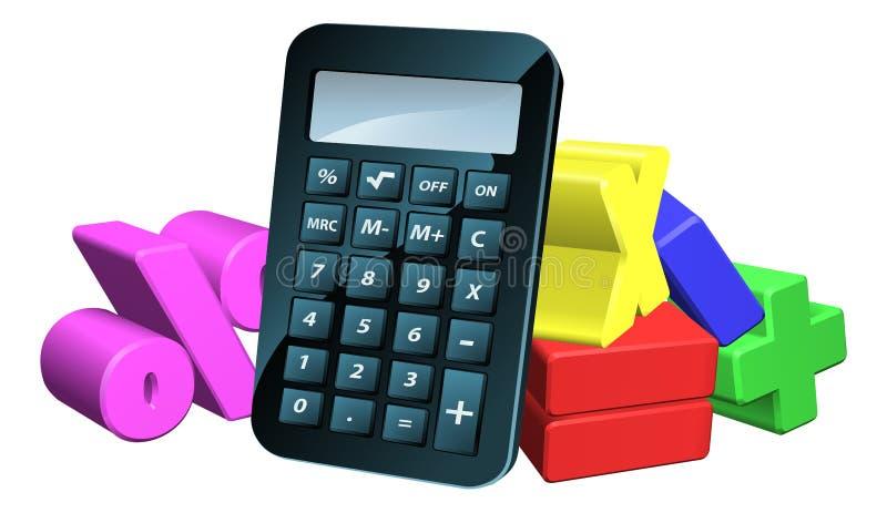 Символы математики человека калькулятора иллюстрация вектора