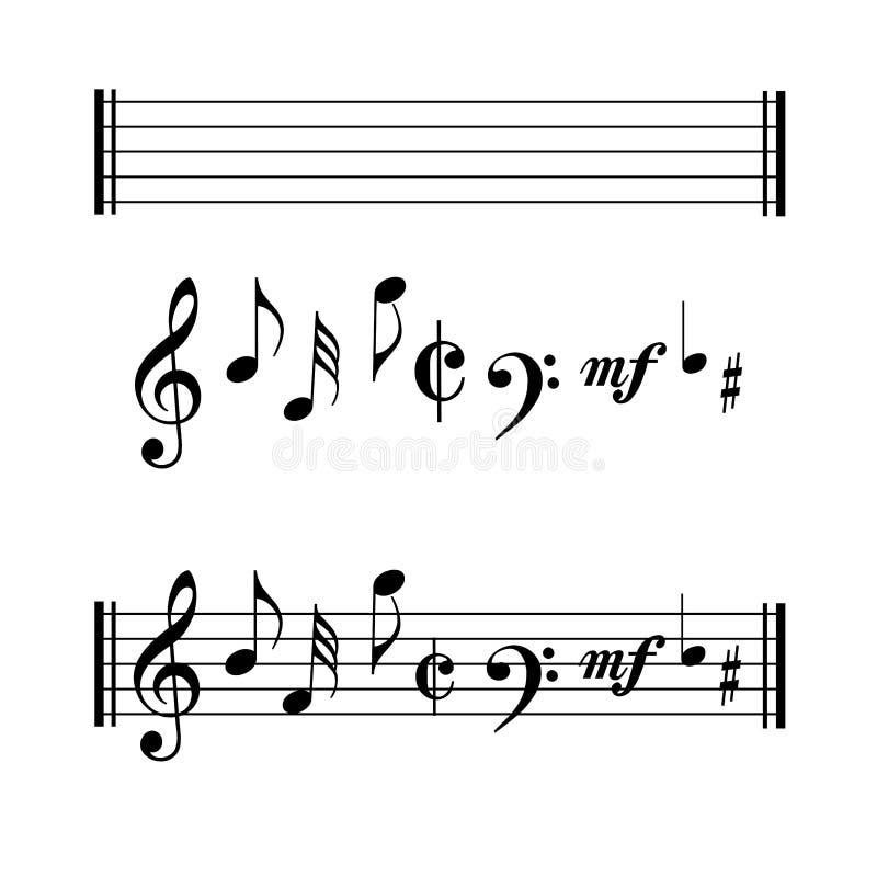 Символы музыкальных примечаний иллюстрация штока