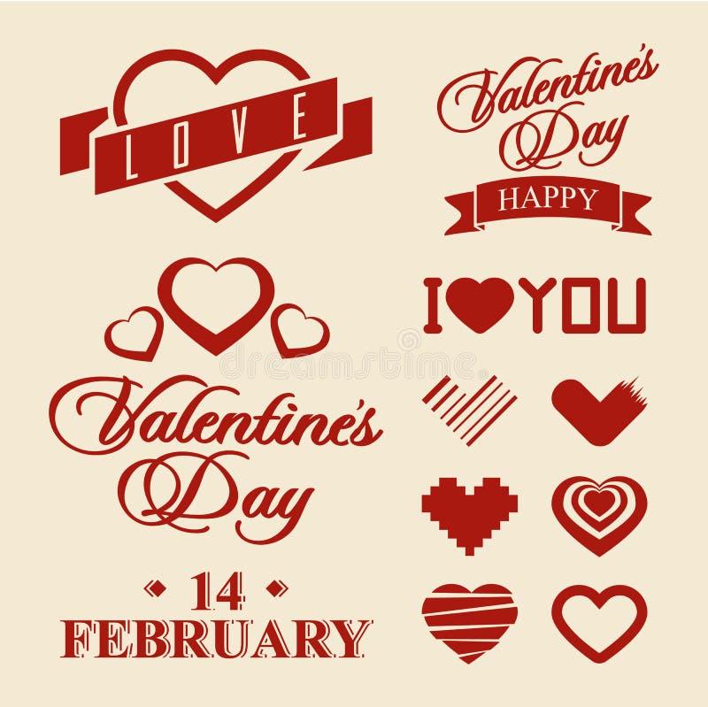 Символы дня валентинок и элементы дизайна иллюстрация вектора
