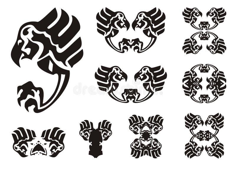 Символы орла в племенном стиле иллюстрация вектора