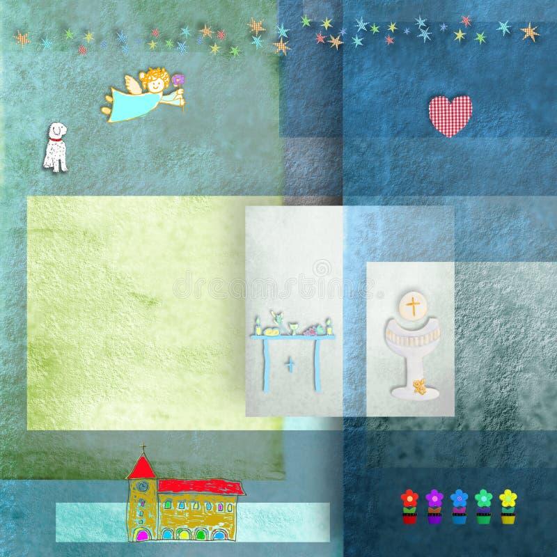 Ангел и цветки церков символов первого приглашения общности вероисповедный иллюстрация штока