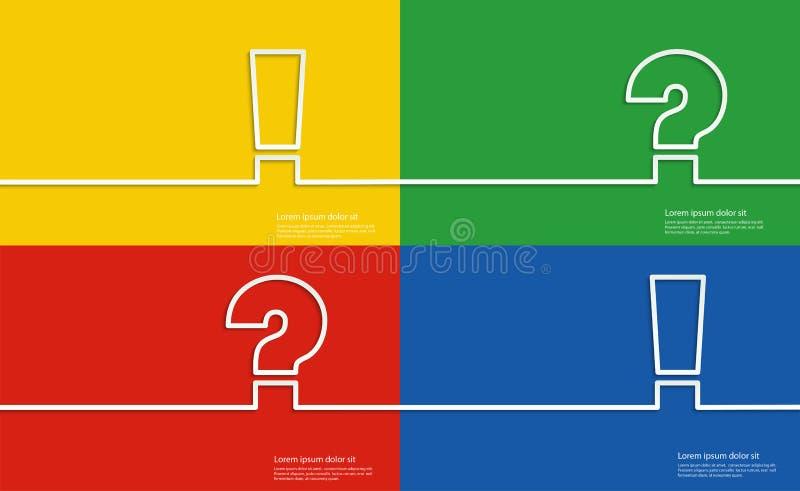 Символы помощи, вопросительный знак и восклицательный знак иллюстрация вектора