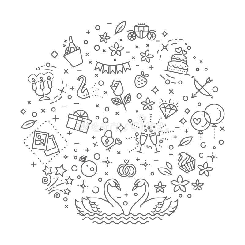 Символы плана свадьбы также вектор иллюстрации притяжки corel иллюстрация вектора