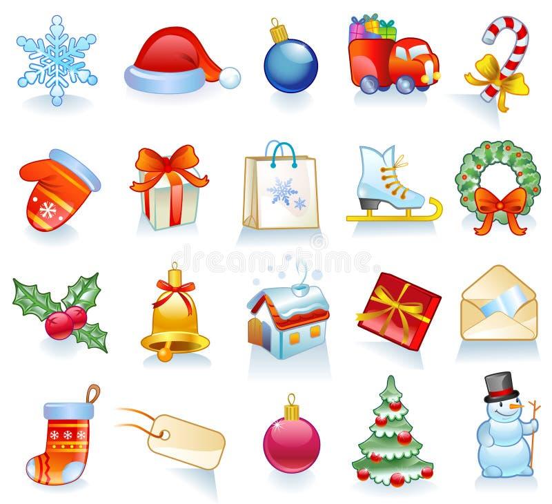 символы рождества установленные иллюстрация штока