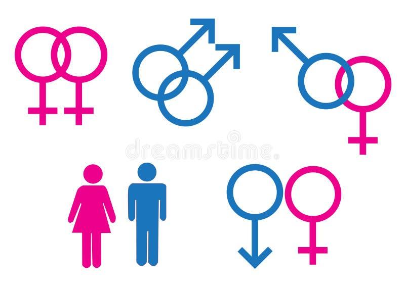 Символы рода мужские и женские иллюстрация вектора