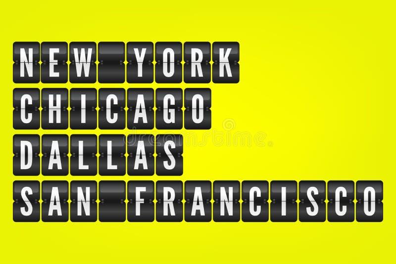 Символы сальто городов New York - Chicago Далласа Сан-Франциско американские Иллюстрация табло вектора Черно-белые знаки авиапорт бесплатная иллюстрация