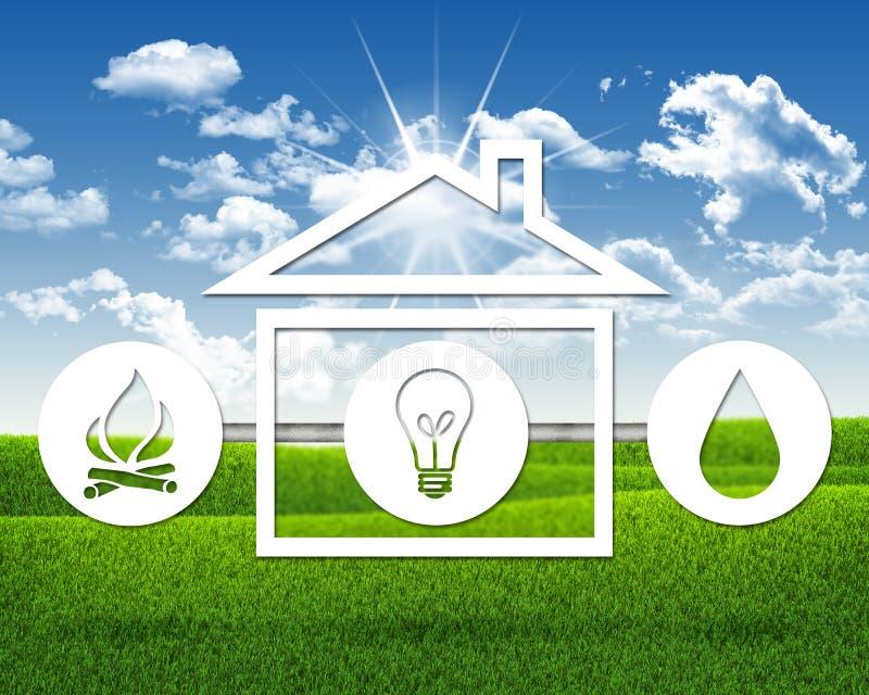 Символы света, огня, воды и дома иллюстрация вектора