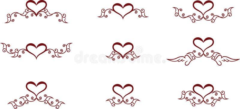 Символы сердца иллюстрация вектора