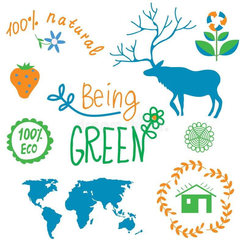 Символы экологичности и комплект элементов природы бесплатная иллюстрация