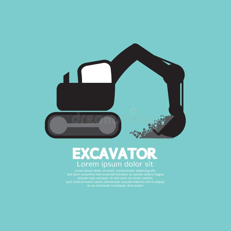 Символ экскаватора черный графический бесплатная иллюстрация
