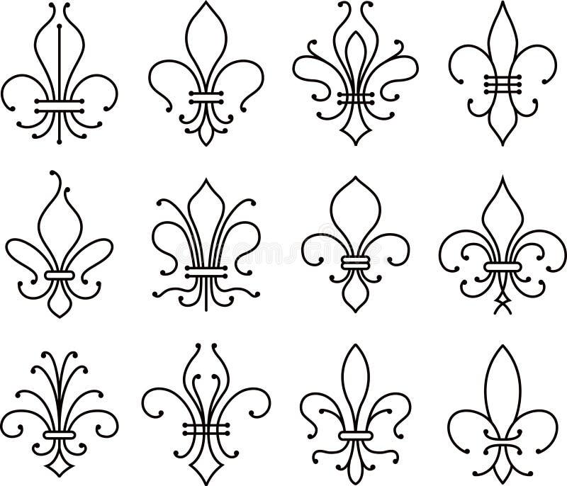 Символ элементов переченя Fleur de lys иллюстрация штока